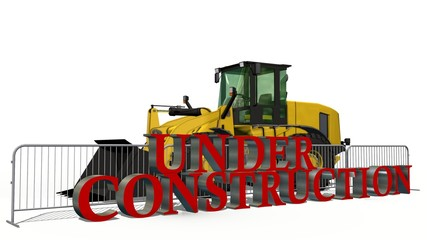 under construction sign and wheel loader bulldozer