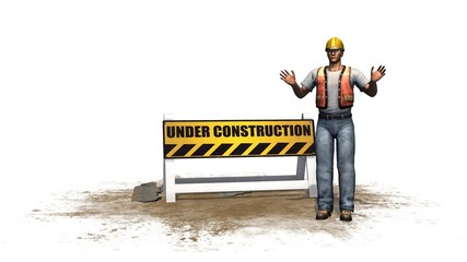 under construction road barrier sign with construction workers