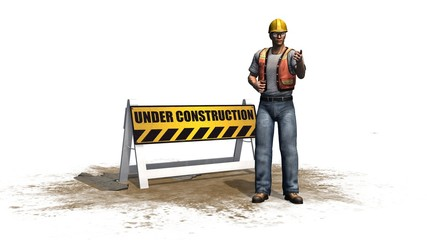 under construction road barrier sign with construction