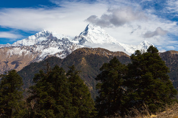 Panorama of the Himalayas in Nepal spring