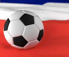 Soccer ball on France blurred corrugated flag 3d illustration
