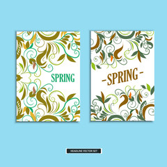 Set of beautiful spring prints for design