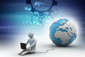 man sitting near the globe with Laptop