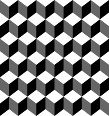 Black and white geometric seamless pattern with trapezoid.