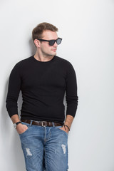 Young man smile with sunglasses on