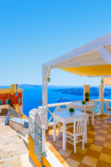 View from cafe at Fira in Santorini island in Greece