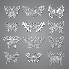 Set of Butterflies Decorative Isolated Silhouettes in Vector