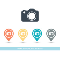 Map pointer with a photo camera icon.