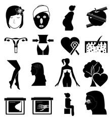Women health icons set