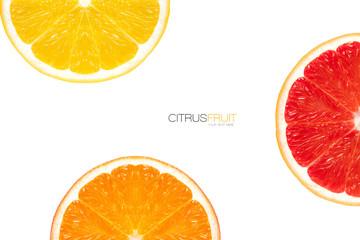 Three different varieties of orange slice