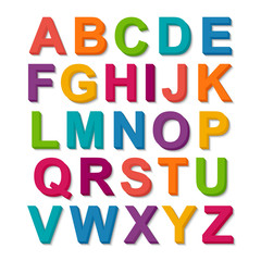 Set of 3D colorful alphabet