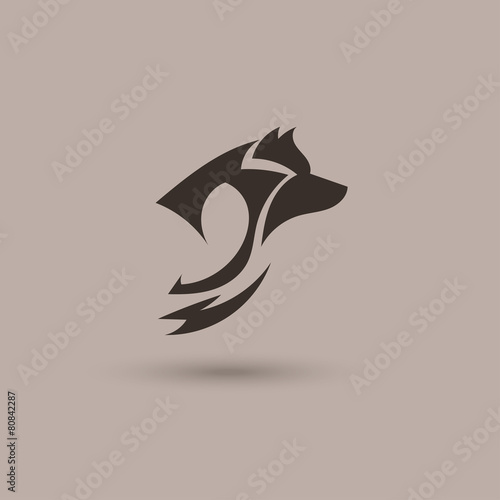 silhouette of a wolf head vector stylized logo. Black Bedroom Furniture Sets. Home Design Ideas