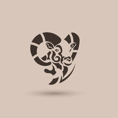 Vector stylized ram head. Abstract animal logo.