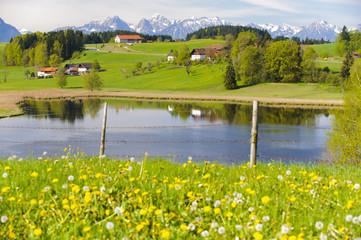 Wall Mural - Bayern, Alpen, Berge, See und Bauernhof im Allgäu