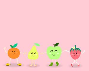 happy fruits cartoon
