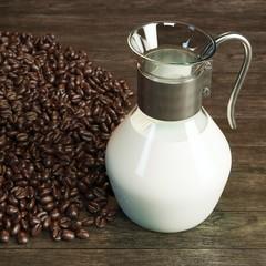 Vintage jug full milk and coffee beans around on wooden desk