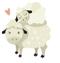Sheep family. Mother and child.