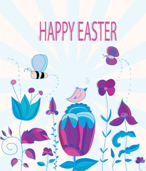 colorful Easter background with flowers bee butterfly and bird