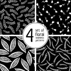 Set of 4 floral seamless patterns on black background