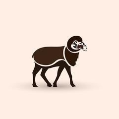 Stylized ram. Creative artistic concept.
