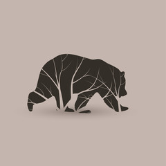 Stylized grizzly bear. Vector illustration tattoo.