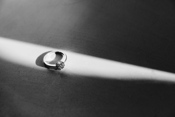 The engagement ring on white background