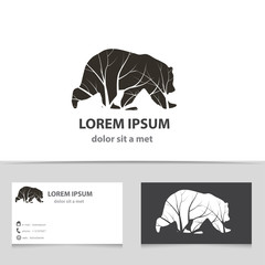 Vector bear logo icon with business card template.