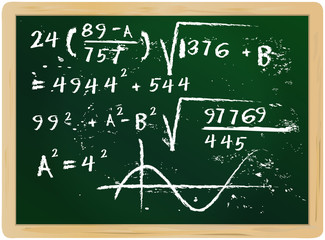 fictional mathematics hand drawn on chalkboard, vector