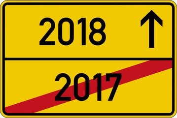 Ein Ortsschild mit den Jahreszahlen 2017 und 2018