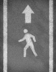 Asphalt road texture with two line and pedestrian sign