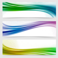 Soft smooth abstract bright wave line header collection