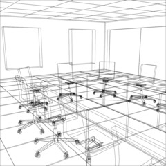 Interior office meeting room. Tracing illustration of 3d