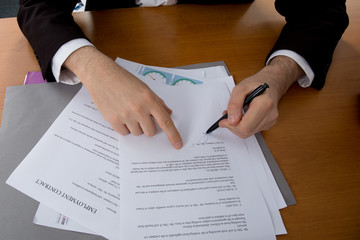 Close-up of female hand pointing at business document