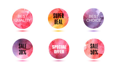 Set of vector abstact watercolor circles, signs, badges