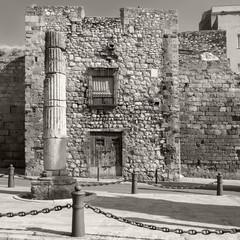 Street view of Via del Imperi Roma. Black and white photo