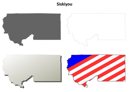 Siskiyou County (California) outline map set