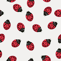 Seamless pattern background with ladybugs
