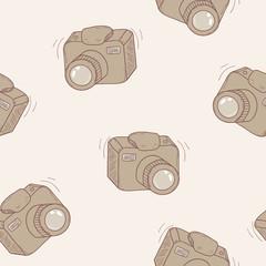 Sketched digital camera seamless pattern background