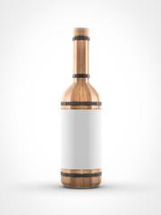 wooden wine bottle on white background