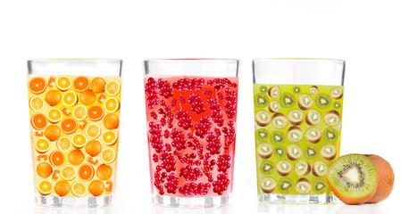 Set juice isolated on white background. Orange, Currant and Kiwi