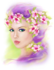 Portrait of a beautiful spring girl wearing flowers hat.