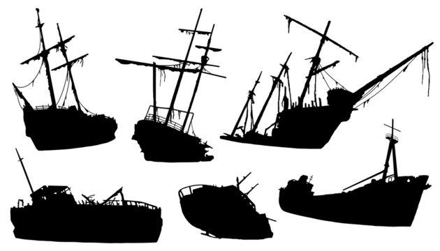shipwreck silhouettes