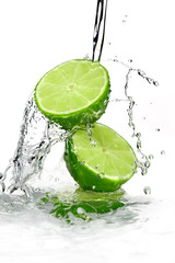 Two slices of lime poured with water