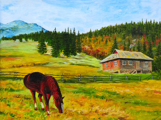 mountain landscape, horse near the house, oil painting