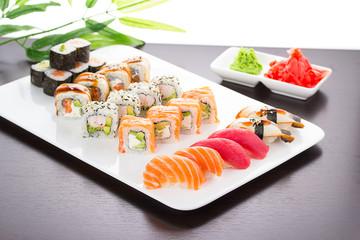 Japanese tasty sushi set on white plate