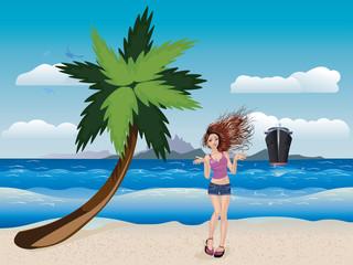 Girl on a Sunny Beach