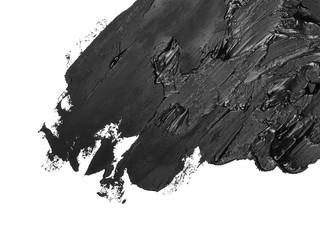 black grunge brush strokes oil paint isolated on white
