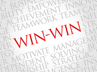 Win-win - winning solution word cloud, business concept
