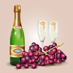 Illustration of a bottle of wine with glasses