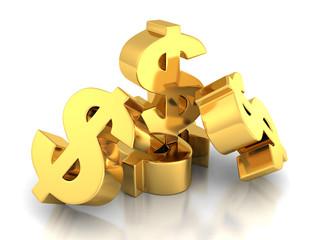 Many Dollar Currency symbols On White Background